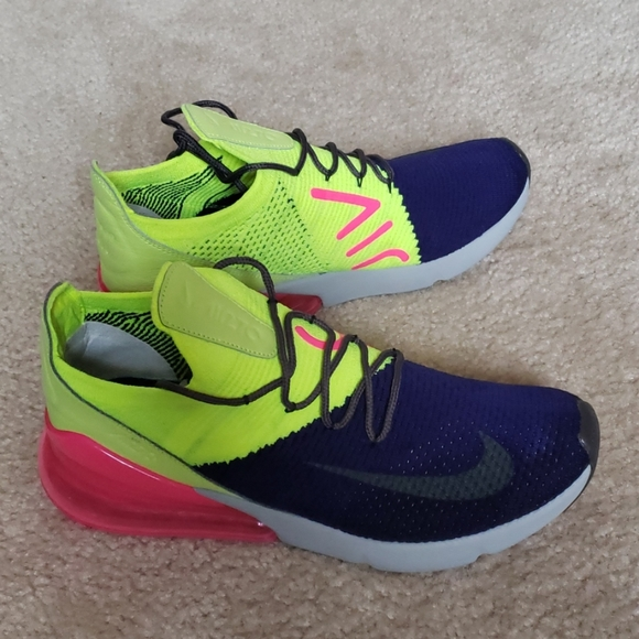 Nike Shoes Air Max 270 Flyknit Mens Size 11 Blue Pink G Poshmark